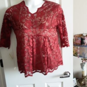 Ruby Red Lace Top
